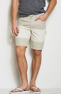 Colorblock Denim Shorts