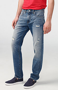 Distressed Straight-Fit Jean