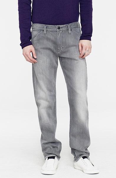 Washed Grey Straight-Leg Jean