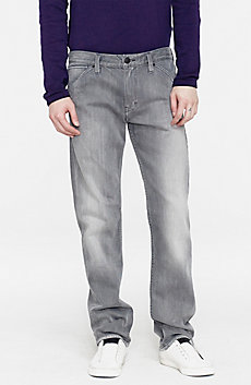 Washed Grey Straight-Leg Jean