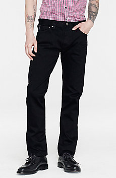 Yarn-Dyed Black Straight-Leg Jean