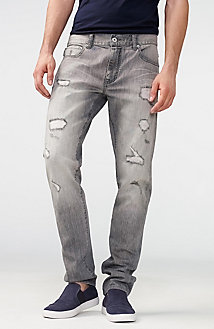Distressed Grey Slim-Fit Jean