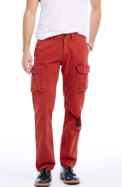 Red Ripped Cargo Pant