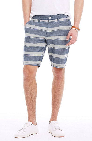 Striped Chambray Short