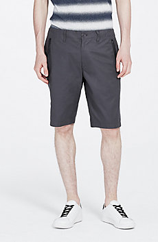 Faux-Leather Trimmed Short