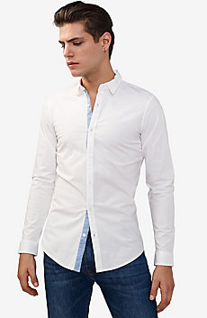 Striped Placket Super-Slim Shirt