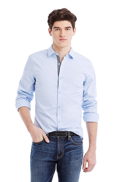 Stripe Placket Slim Stretch Shirt
