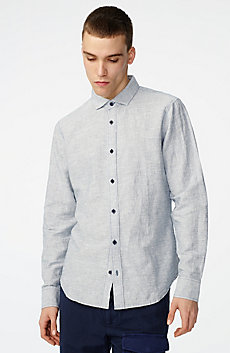 Solid Linen Button-Down Shirt