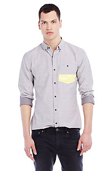 Yellow Print Pocket Shirt