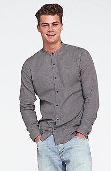 Banded Collar Jaquard Shirt