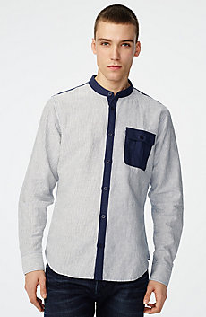 Band Colllar Linen Shirt