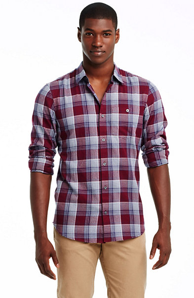 Burgundy Check Cotton Shirt