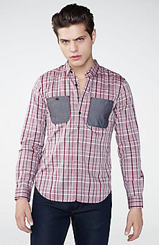 Contrast Pocket Plaid Shirt