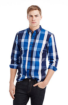 Large Scale Blue Plaid Shirt