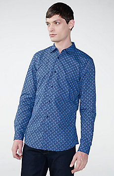 Diagonal Grid Print Shirt