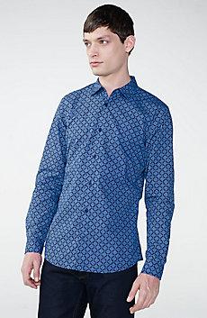 Diagonal Grid Print Shirt