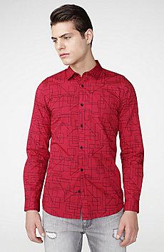 Geo-Frame Poplin Shirt