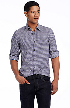Bisecting Stripes Poplin Shirt
