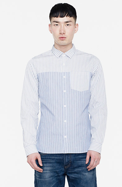 Contrast Yoke Striped Shirt