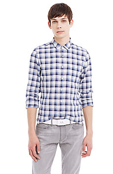 Plaid Slub Linen Shirt
