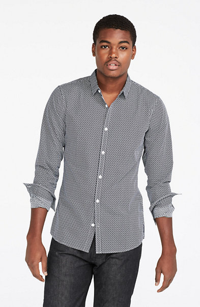 Long-Sleeve Micro Printed Shirt