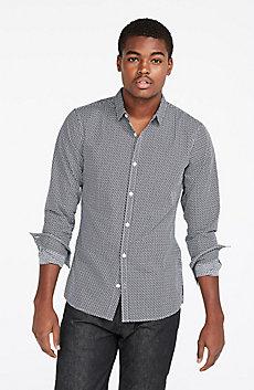 Long-Sleeve Micro Printed Shirt