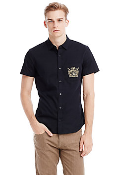 Short Sleeve Embroidered Logo Shirt