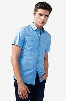 Short-Sleeve Trapunto Stitch Shirt