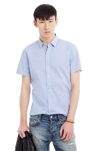 Pinstriped Stretch Cotton Shirt