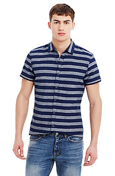 Striped Cotton/Linen Short-Sleeve Shirt