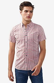 Short-Sleeve Irregular Plaid Shirt