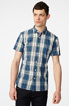 Short-Sleeve Vibrant Plaid Shirt