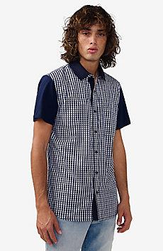 Short-Sleeve Pattern Block Knit Shirt