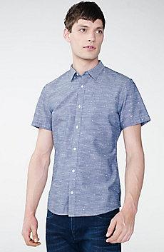 Short-Sleeve Mini Logo Chambray Shirt