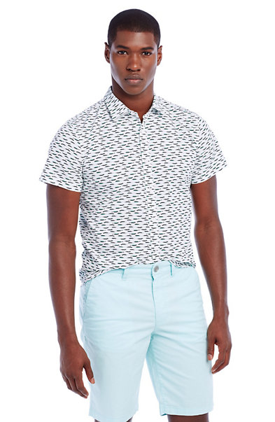 Short-Sleeve Fish Print Shirt