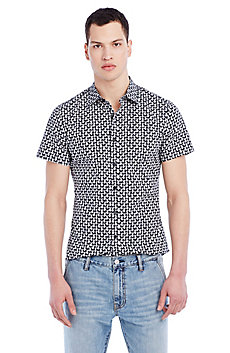 Short-Sleeve Pineapple Print Shirt