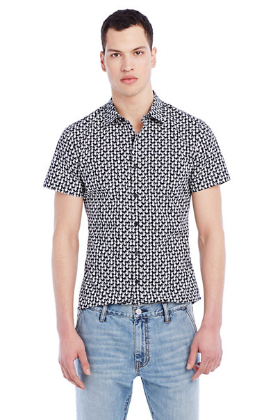 Short-Sleeve Pineapple Print Shirt