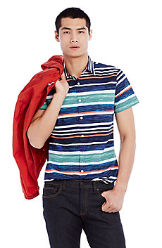 Painterly Striped Sportshirt