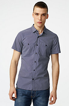 Short-Sleeve Mixed Microdot Shirt