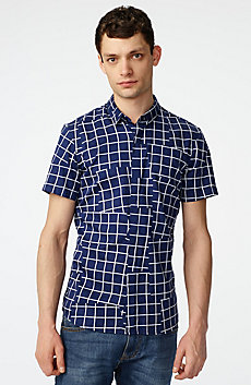 Short-Sleeve Broken Grid Shirt
