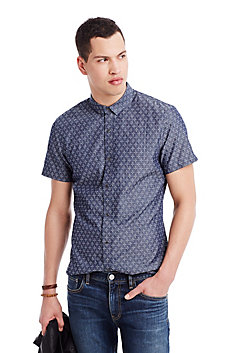 Star Jacquard Short Sleeve Chambray Shirt