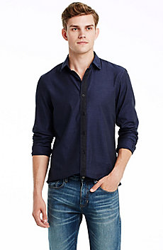 Contrast Placket Cotton Twill Shirt