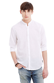 Banded Collar Cotton/Linen Shirt