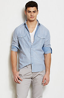 Chambray Stripe Shirt<br>Online Exclusive