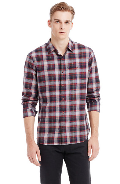 Heathered Plaid Shirt