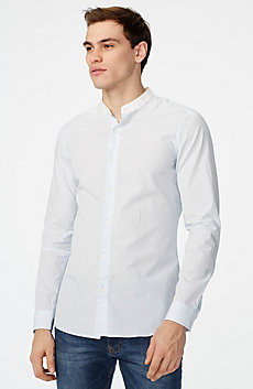 Band Collar Microstripe Shirt