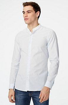 Band Collar Microstripe Shirt