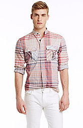 Band Collar Plaid Shirt