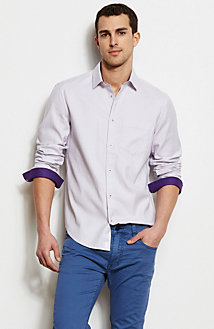 Contrast Cuff Checked Shirt