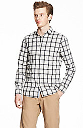 Linear Checked Plaid Shirt